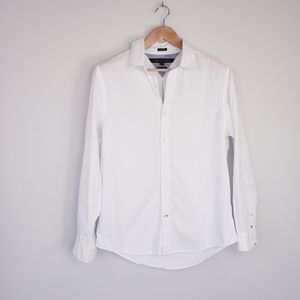 Mens Tommy Hilfiger 80s 2ply White Button Down Top
